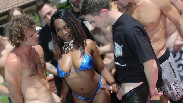 Chocolate babe with big tits fucked in gangbang hardsex