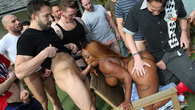 Bachelor party in the form of gangbang hardsex with one whore