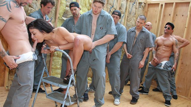 After the house was built, the builders lined up to fuck the hostess in group sex
